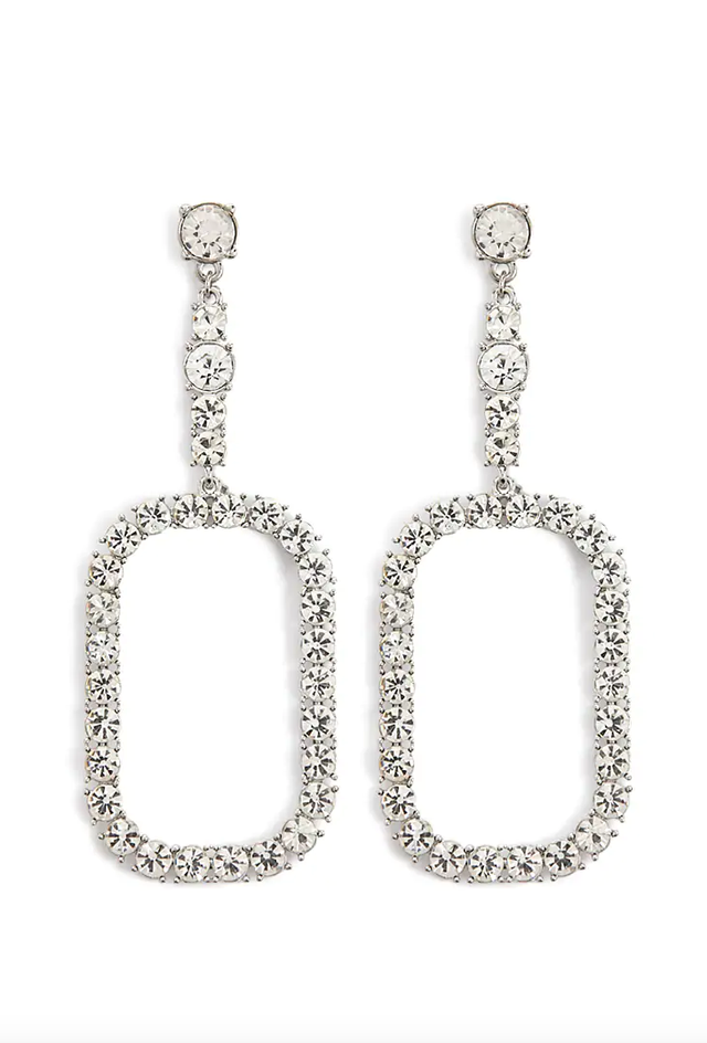 Forever 21 Rectangle Rhinestone Drop Earrings