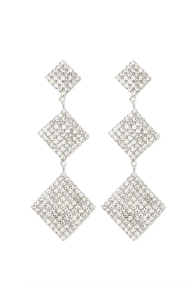 Forever 21 Tiered Square Rhinestone Drop Earrings