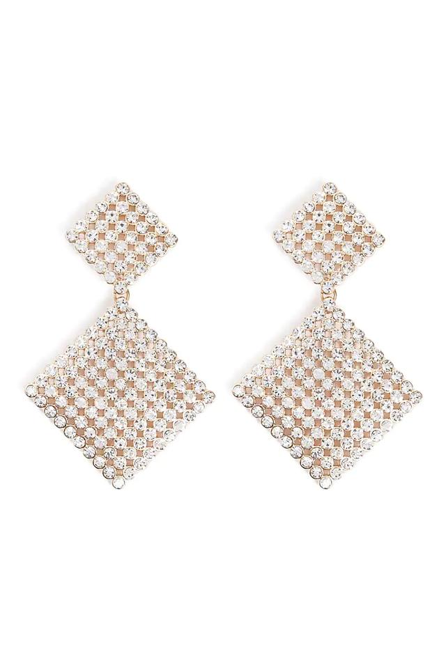 Forever 21 Rhinestone Tiered Drop Earrings
