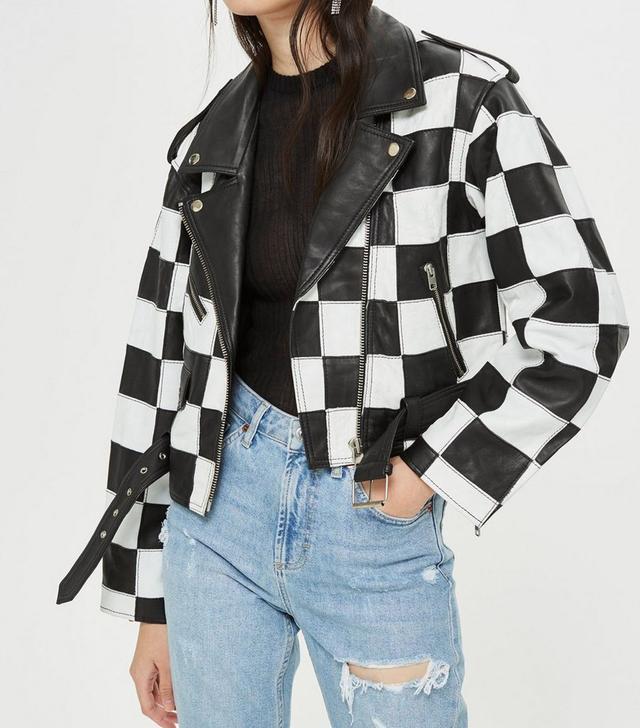 Checkerboard Leather Biker Jacket