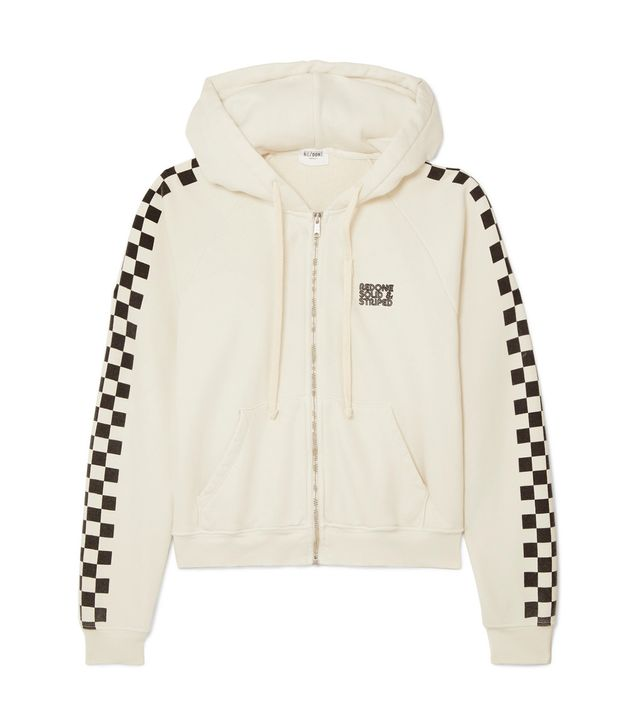 Re/done The Malibu Printed Cotton-terry Hoodie