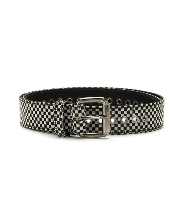 checked leather belt