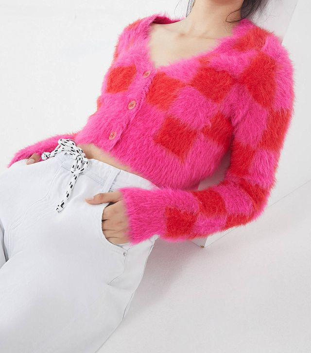 Fuzzy Checkerboard Cardigan