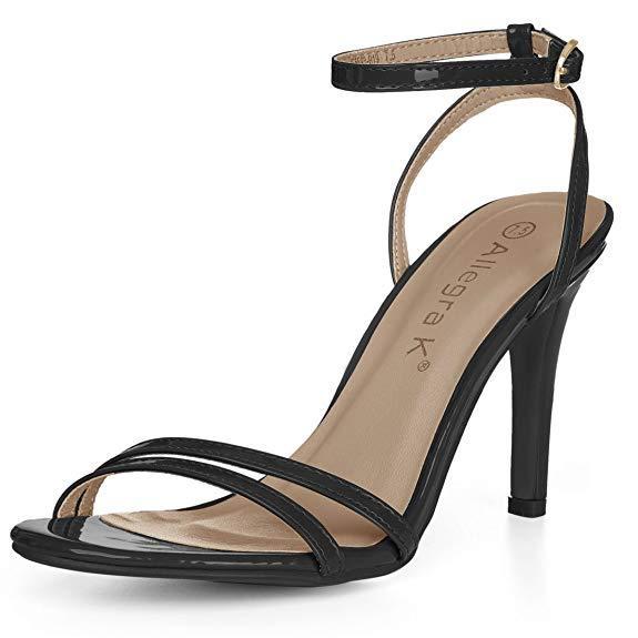 Allegra K Open Toe Stiletto Heel Ankle Strap Dress Sandals