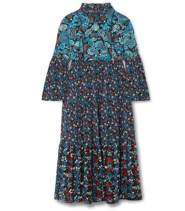 Fruits & Florals Ditsy Daze Printed Silk-chiffon Midi Dress