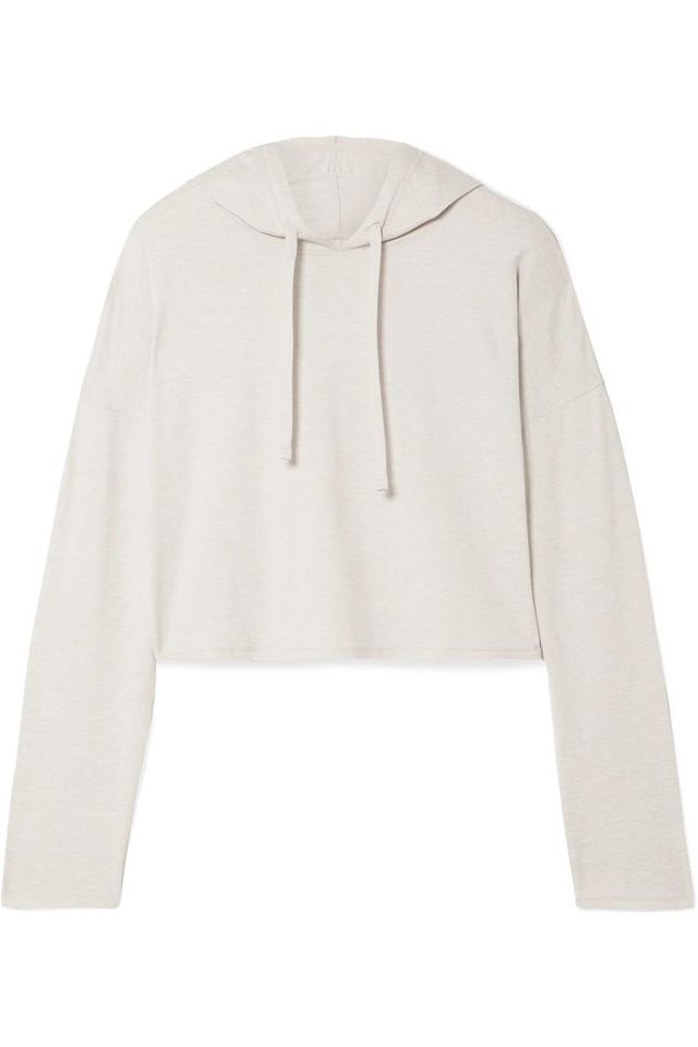 The Zen Cropped Stretch-Jersey Hoodie