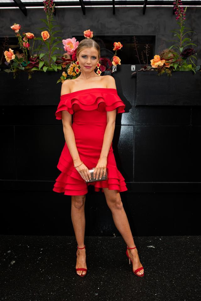 "<p>Tegan Martin wearing a custom<a href=""https://www.cooperst.com.au/"" target=""_blank"">Cooper St</a> dress, a custom<a href=""https://fordmillinery.com.au/"" target=""_blank"">Ford..."