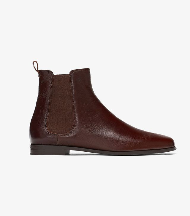 Zara Flat Leather Ankle Boots With Elastic Sides