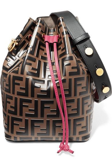 Fendi Mon Trésor Embossed Leather Bucket Bag