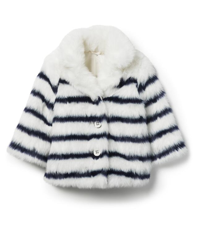 Janie and Jack Striped Faux Fur Jacket