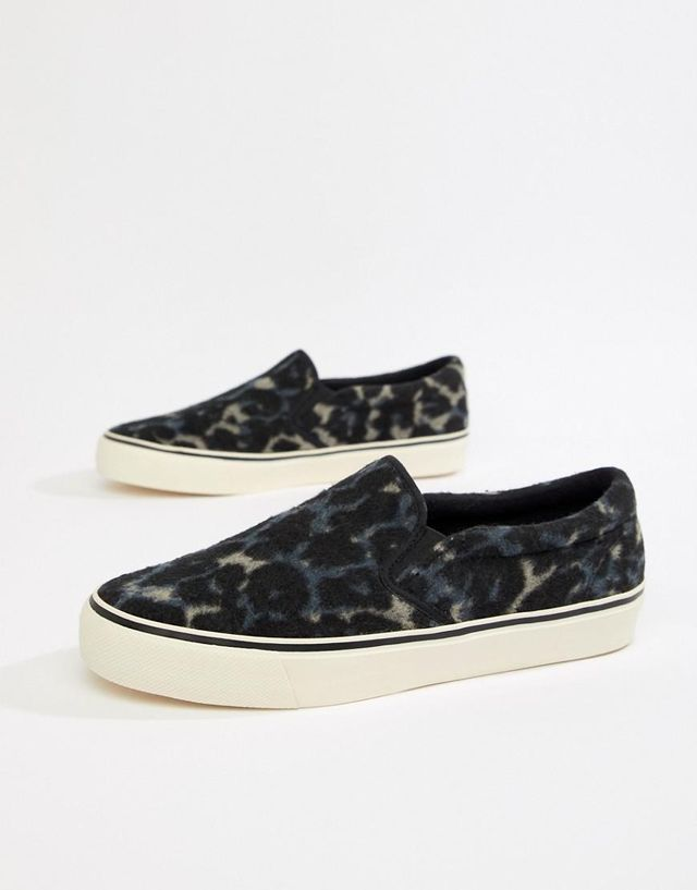 slip on plimsolls in faux leopard