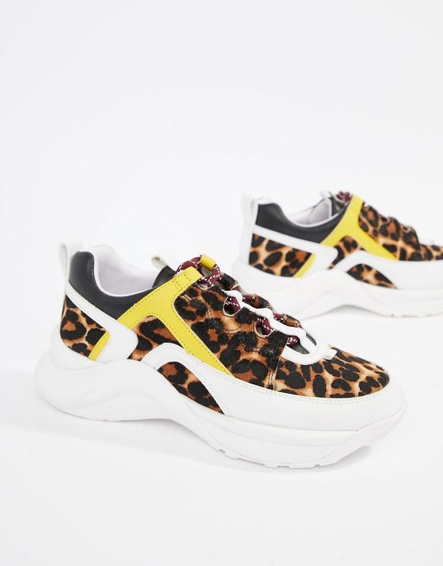 Kurt Geiger Lunar leopard pony effect color contrast sneakers
