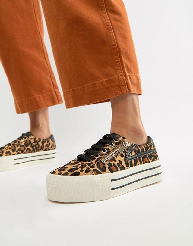 leopard print sneaker with zip detailing