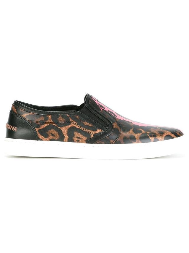 leopard print slip-on sneakers