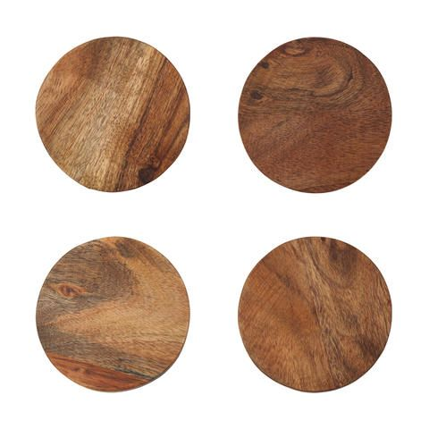 Set of 4 Acacia Wood Coasters