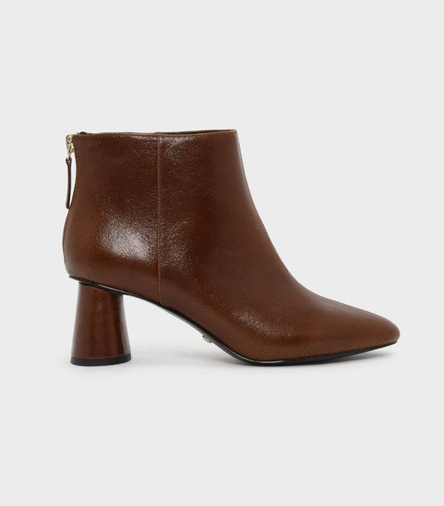 Charles & Keith Oval Block Heel Leather Boots