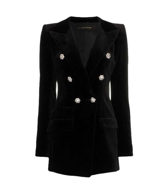 crystal button double breasted cotton jacket -