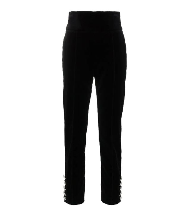 high waisted crystal button cotton velvet trousers