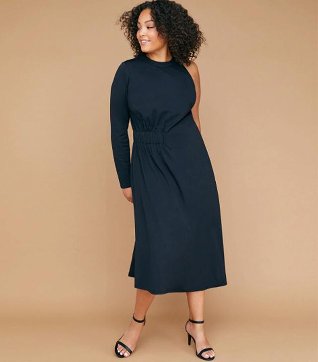 Lane Byrant One-Sleeve Asymmetrical Hem Maxi Dress
