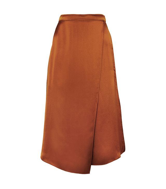 Asymmetric Wrap-effect Silk-satin Skirt