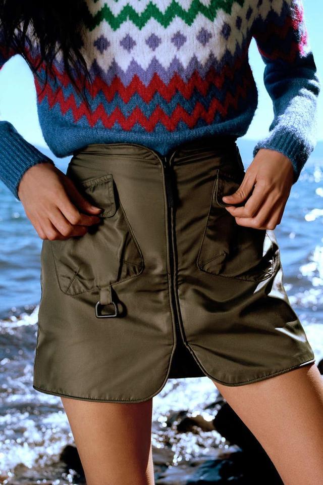 UO Bernard Nylon Zip-Front Utility Skirt
