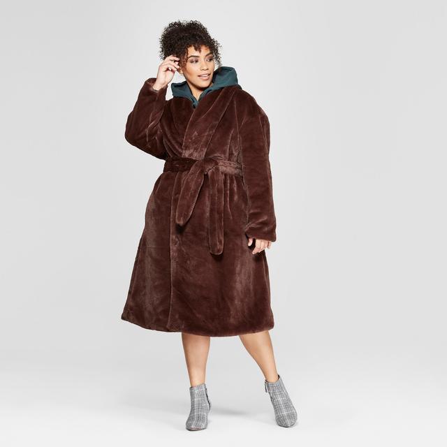 Who What Wear Faux Mink Robe Coat