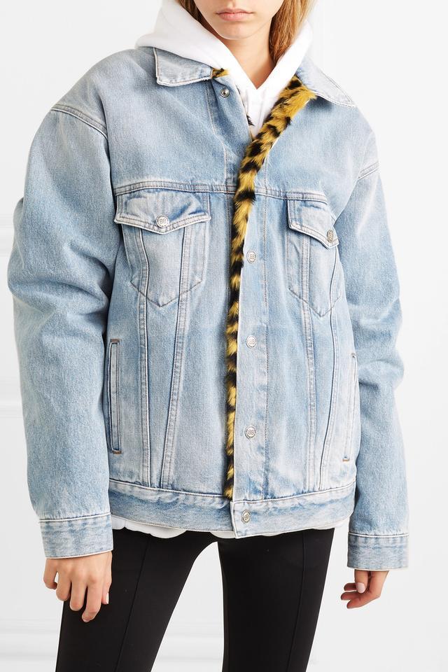 Oversized Leopard-print Faux-fur Trimmed Denim Jacket