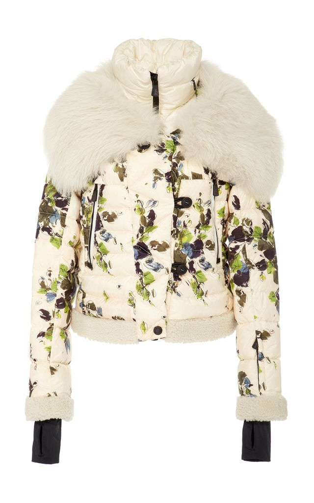 Moncler Genius Shearling-Trimmed Floral-Print Quilted Shell Down Jacket