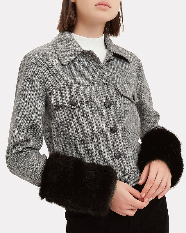Veronica Beard Burke Faux Fur Cuffs Jacket