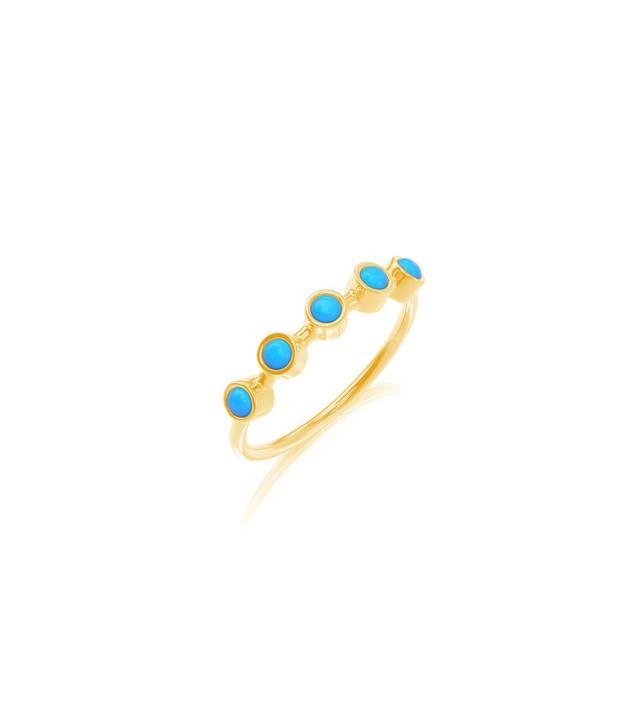 Baby Gold Petit Turquoise 5 Bezel Ring