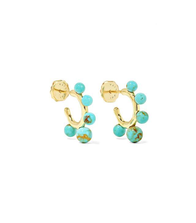 Nova Teeny 18-Karat Gold Turquoise Hoop Earrings