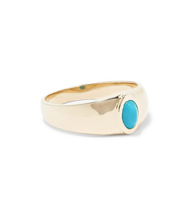 Gold Turquoise Signet Ring