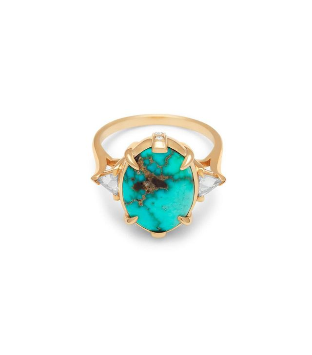 Anna Sheffield Bea Oval Turquoise Ring