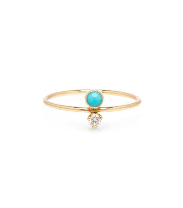 Zoë Chicco 14k Turquoise & Diamond Stacked Ring