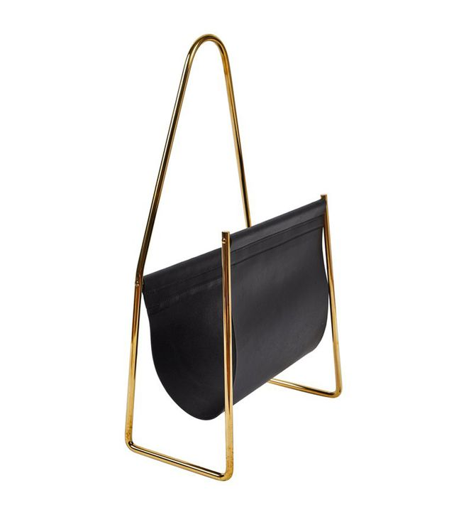 Carl Auböck Brass and Leather Magazine Rack
