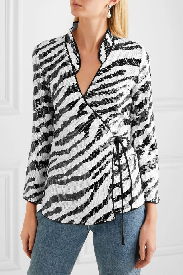 Blossom Tiger-Print Sequined Tulle Wrap Blouse