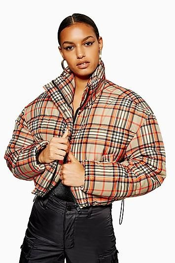 Cropped Check Puffer Jacket