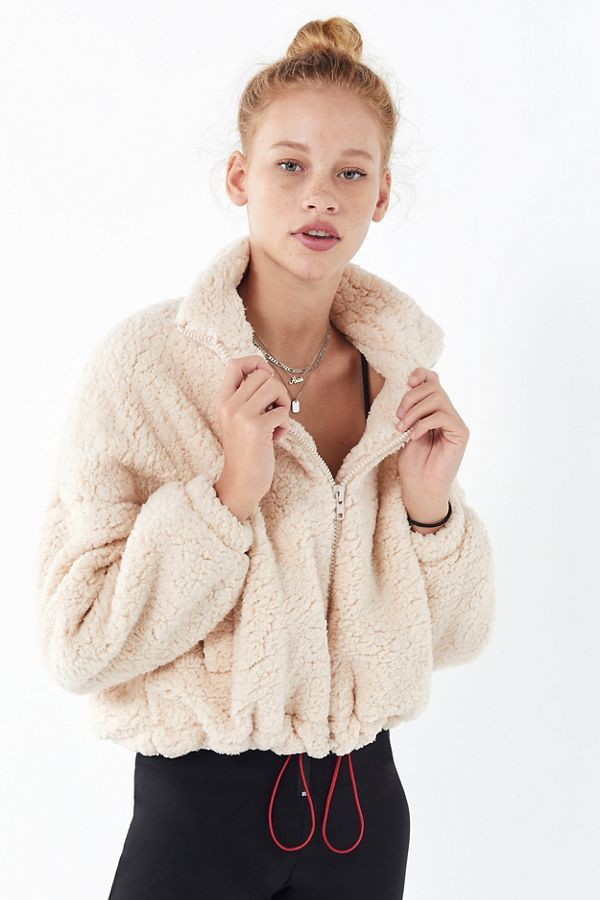 UO Willow Fuzzy Drawstring Teddy Jacket