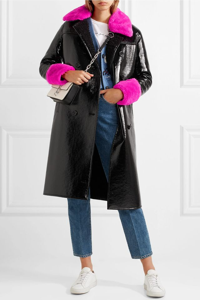 Bernadette Faux Fur-trimmed Crinkled-vinyl Coat
