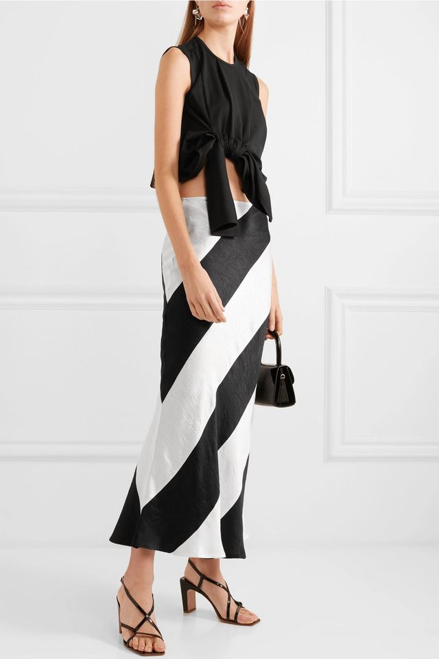 Delilah Striped Crinkled-Satin Maxi Skirt