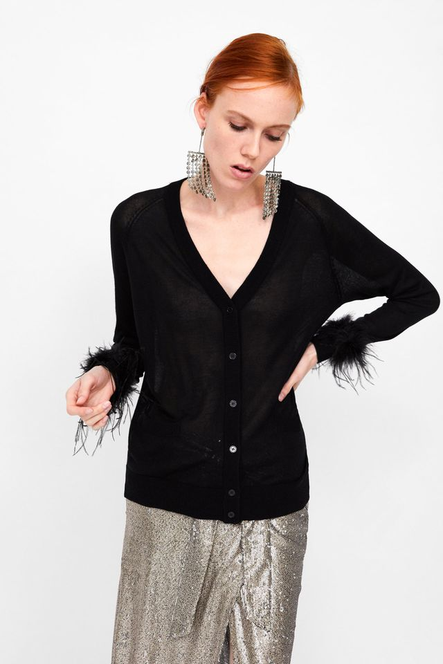 Zara Cardigan With Pockets and Feather Appliques