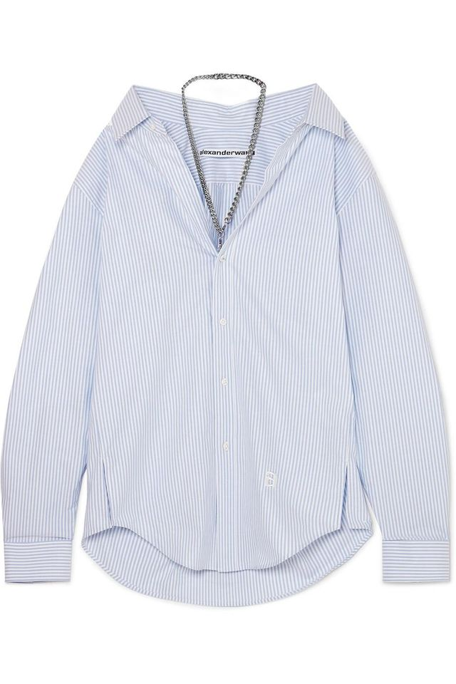 Chain-Embellished Striped Cotton-Poplin Shirt
