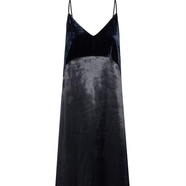 Maje Ryck Velvet-paneled Satin Maxi Slip Dress