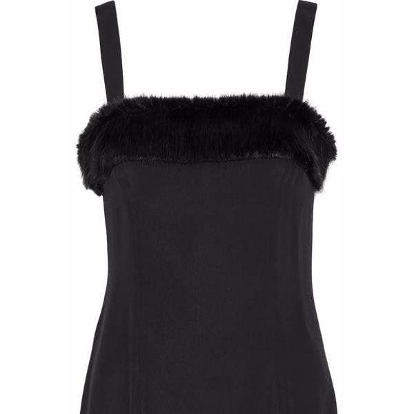 Staud Elise Faux Fur-Trimmed Crepe de Chine Mini Dress