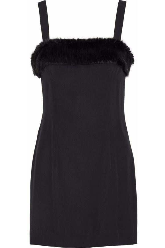 eb104fe63e24a Staud Elise Faux Fur-Trimmed Crepe de Chine Mini Dress (  275)  137