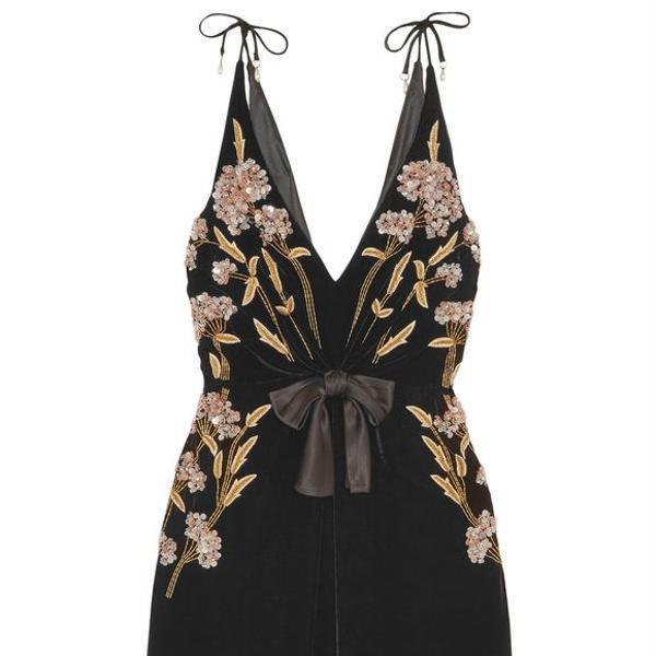 Altuzarra Lisabetta embellished velvet dress