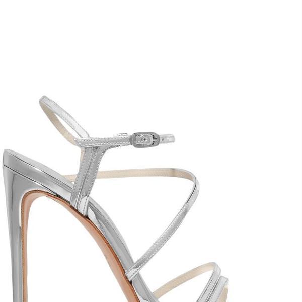 Stuart Weitzman Follie Metallic Leather Sandals