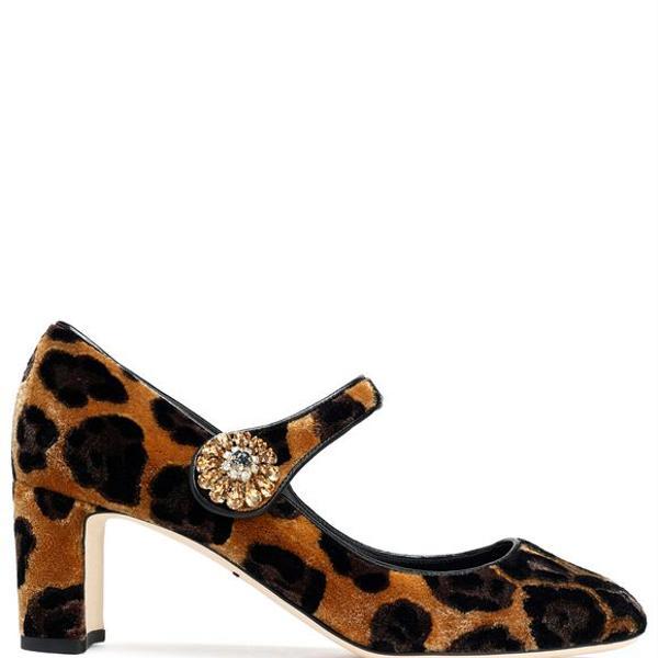 Dolce & Gabanna Vally embellished Leopard-Print Velvet Mary Jane Pumps