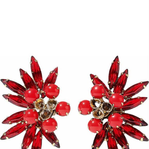 Elizabeth Cole Burnished Gold-tone, Crystal and Stone Earrings