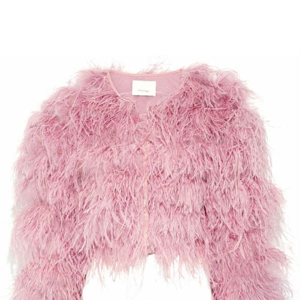 Cinq a Sept Lennox Cropped Feather-embellished Mesh Jacket